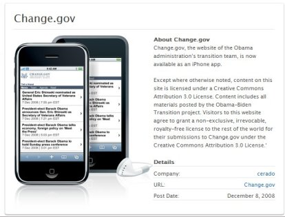 The Change.gov iPhone Application
