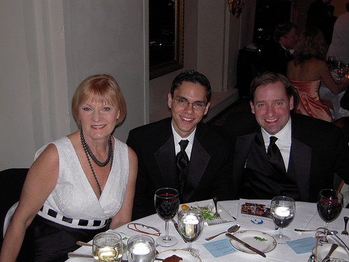 Federal News Radio 1500 AM's table with Federal Drive co-anchor Jane Norris, Federal Drive producer Ruben Gomez, and Federal News Radio director of operations and sales John Meyer